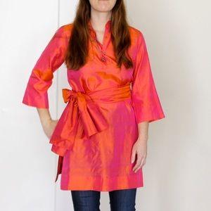 1960s Gumps SF Silk Indian Sari Tunic and Wrap